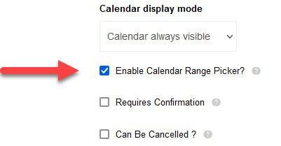 Sell products or services online enable calendar picker